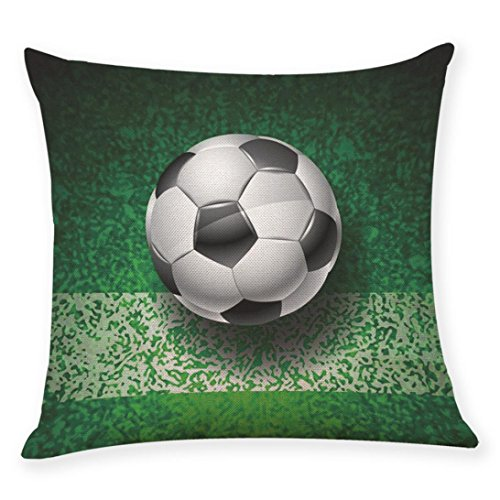 Throw Pillowcase, Kimloog 18x18 Colorful Football Soccer World Cup Home Decor Square Cushion Covers (B)