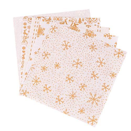 HEALLILY 10Pcs Paquetes de Tela de Algodón de Navidad Coser Tela Cuadrada Patchwork Copo de Nieve Cuarto de Paquete Trozos de Tela Precortada para Navidad Costura de Bricolaje Acolchado