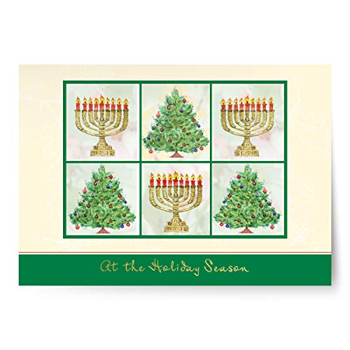 Designer Greetings Interfaith Holiday Cards with glitter, foil and embossed treatments and silver foil lined white envelopes in a sturdy red box with clear acetate lid. 18 cards and envelopes per box
