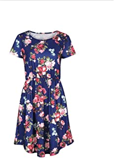 Women's Dresses, Round Neck Short Sleeve Dress 2019 Summer New Printed Midi Dress Party Travel Beach Work Holiday
