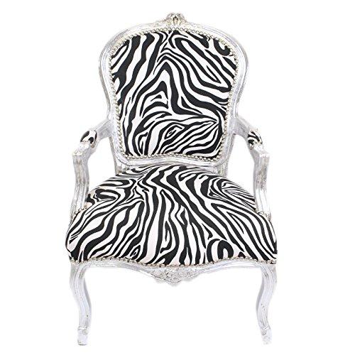 Casa Padrino Barock Salon Stuhl Zebra/Silber mit Armlehnen - Barockmöbel