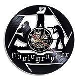 qweqweq Fotografie Vinyl Wanduhr modernes Design Studio Wandbehang Kunst Retro Vinyl...
