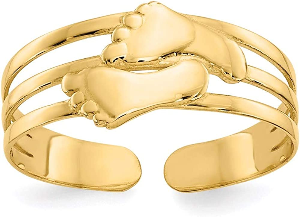 14k Yellow Gold Bare Feet Adjustable Cute Toe Ring Set Fine Jewelry For Women Gifts For Her