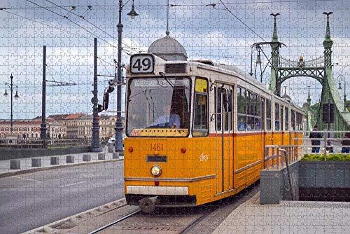 Rompecabezas para Adultos Hungría Transporte en tranvía Budapest Puzzle 1000 Piezas Recuerdo de Viaje de Madera