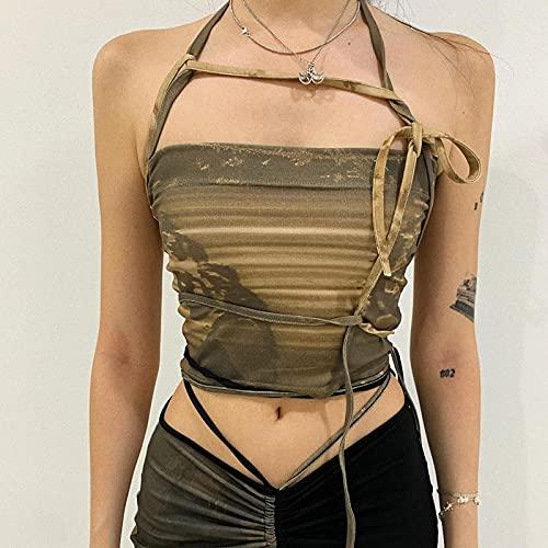 FSUYWQ Chaleco de Vendaje Superior para Mujer Cuello con Cordones Camisa Delgada de Verano para Adelgazar Informal para Mujer S Verde