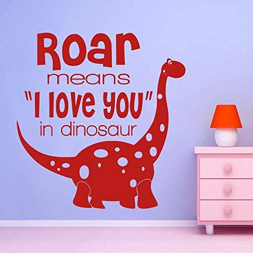 Sticker mural humoristique en vinyle pour chambre d'enfant Inscription en anglais « Roar Means I Love You »