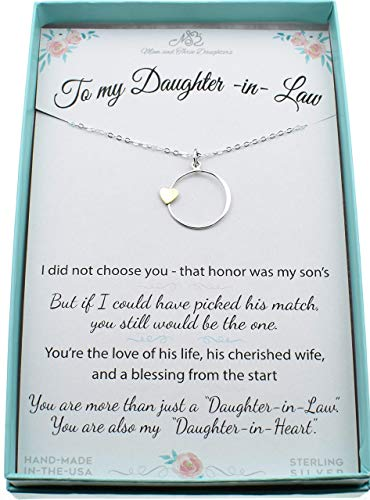 Gift For Daughter-in-law, Circle Charm Pendant In Sterling Silver On w/bronze heart, on an 18' Sterling Silver Cable Chain. Gift From Mother In Law