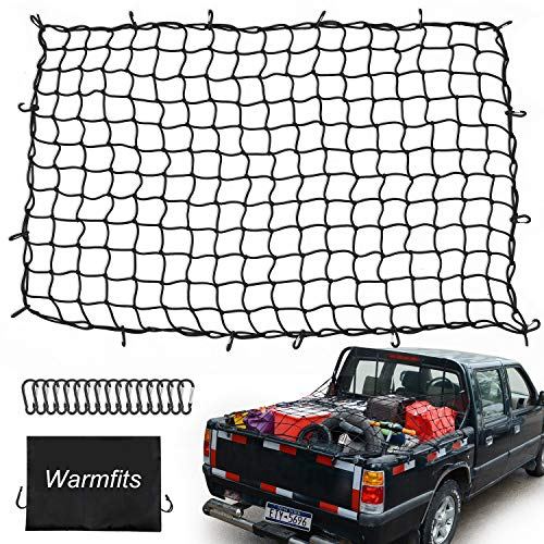 Warmfits 4#039x6#039 Super Duty Truck Bed Cargo Net Stretches to 8#039x12#039 with 16 Mety D Clip Carabiners  Small 4quotx4quot Mesh Holds Small and Large Loads Tighter for Pickup Truck Trailer Boat or RV