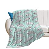 Flannel Fleece Blanket Cozy and Warm Throw Blanket Anti-Pilling Fluffy Blanket Manatee Pattern Air-Conditioned Quilts for Home Decoration (30 x 40 Inches)