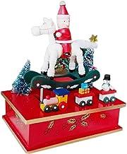 DFUTYK Navidad Caja de música de Madera carrusel Santa Claus Regalo niños Mesa decoración del hogar
