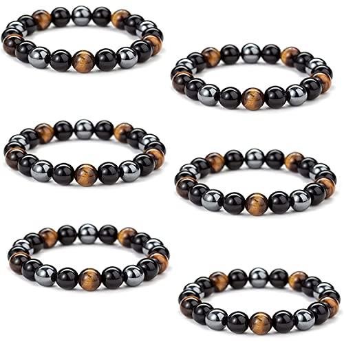 Men SteelHard Triple Infrared Bracelet - Lymph Drainage Tigers Eye Triple Bracelet, Anti-Swelling Tiger Eye Beads Bracelet, Stress Relief for Women and Men
