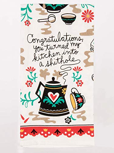 Blue Q Dish Towel, Congratulations - You Turned My Kitchen Into a Shithole. Screen-Printed in Rich, Vibrant Colors, 100% Cotton, 28