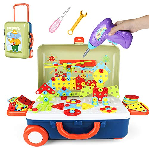 Electric Drill Design Building Toys–Storage Box for Luggage,Screwdriver Construction Engineering Educational Creative Assembly DIY STEM 207 PCS Blocks Set best gift for Preschool Children Kids Boys