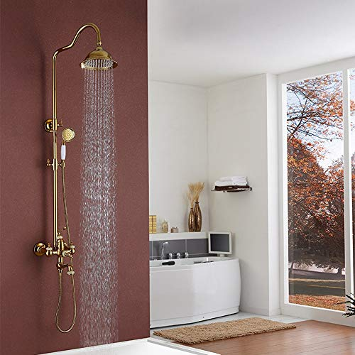 Best Buy! L.J.JZDY Shower Set Bathroom Large Shower System Shower Jade Round Top Spray Booster Hand ...