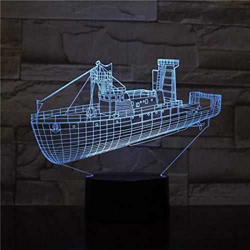 Lámpara de mesa 3D creativa, línea de luz de noche LED, barco USB, decoración acrílica multicolor, regalo para la habitación de los niños