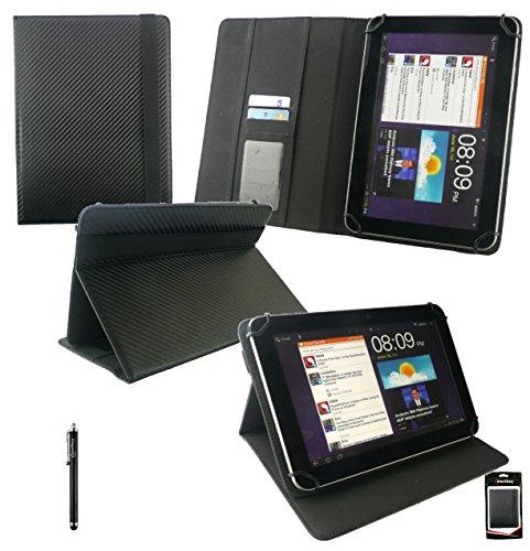 emartbuy Schwarz Stylus+Universalbereich (8-9 Zoll) Schwarz Carbon PU Leather Multi Winkel Folio Cover Wallet Hülle Schutzhülle mit Kartensteckplätze Geeignet für GigaSet QV830 8 Zoll Tablet