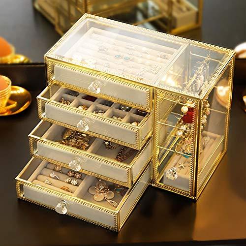 DWGYQ Joyero Soporte de exhibición de joyería a Prueba de Polvo Transparente de Gran Capacidad de Vidrio Multicapa Tamaño pequeño no ocupa Espacio Adecuado para tocador de Dormitorio Tocador