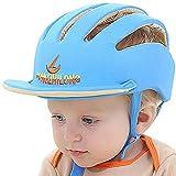 IULONEE Casco de protección para bebé, gorra protectora para cabeza de bebé, gorra de algodón ajustable(Gorra con borde azul)