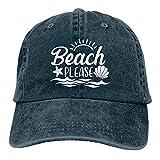HUMYBEN Starfish and Shells Beach Please - Gorras de béisbol de algodón ajustable unisex para el día a día, color negro, azul marino, M