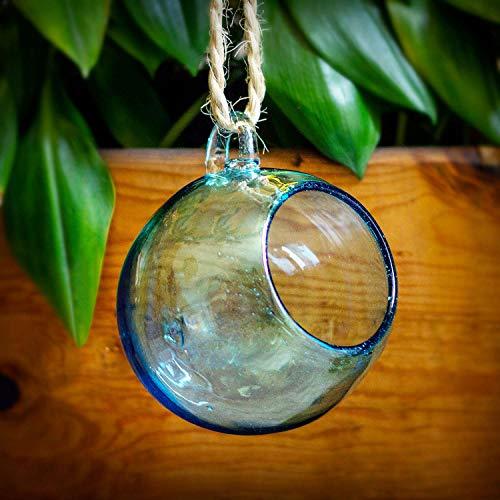 Mitienda glasfabrikant, terrarium decoratieve vaas Esfera Aqua om op te hangen, mondgeblazen raamdecoratie, decoratieve ovase tafelvaas bloemenvaas cadeau-idee