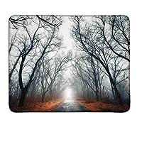 神秘的な家の装飾道路に向かって明るい曇りの秋の空の木々地面に金色の葉灰色赤大きなマウスパッドマット滑り止めW16xL24