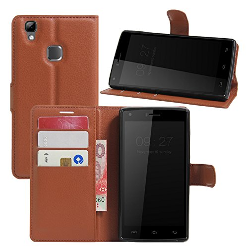Doogee X5 Max Case, Doogee X5 Max Pro Case, Fettion Premium PU Leather Wallet Flip Phone Protective Case Cover with Card Slots for Doogee X5 Max/Doogee X5 Max Pro Smartphone (Brown)