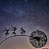 JSFC Gartenfiguren Fee Tanzen mit Löwenzahn Garten für Außen Deko Metall Garten Gartenkunst Statue Rasenlandschaft Skulptur Dekoratives Kunsthandwerk,D