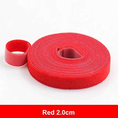 5meters herbruikbare plakband sluiting haken en lussen bevestigingsriemen nylon tent,2,0 cm Rood