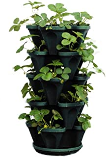 Mr. Stacky 1305-HG 5-Tier Stackable Strawberry, Herb, Flower, Vegetable Planter - Vertical Gardening Indoor/Outdoor Stacking Garden Pots