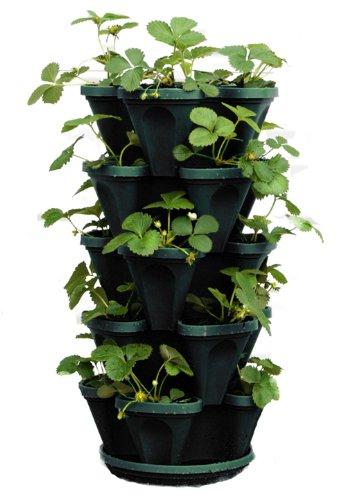 Mr. Stacky 1305-HG 5-Tier Stackable Strawberry, Herb, Flower, & Vegetable Planter - Vertical Gardening Indoor/Outdoor Stacking Garden Pots
