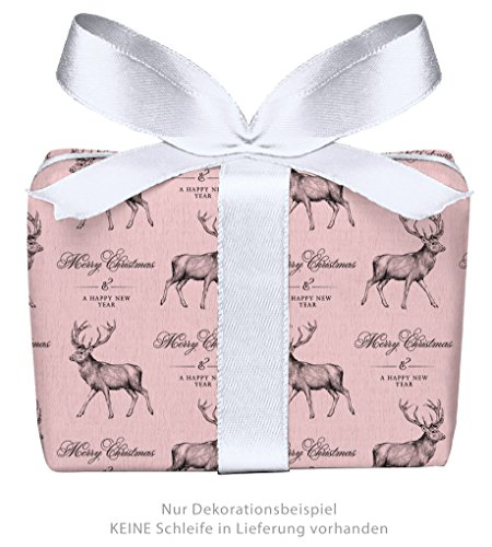 fioniony® 5er Set Weihnachts Geschenkpapier Bögen HIRSCH ROSA PASTELL im Retro Kraftpapier Look zu Weihnachten & Adventszeit • Weihnachtspapier für Weihnachtsgeschenke (Format : 50 x 70 cm)