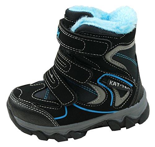 gibra® Stiefel Winterstiefel für Kinder, Art. 0927, warm gefüttert, mit Klettverschluss, schwarz/blau, Gr. 27