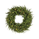 NOMA 24 Inch Christmas Wreath with Lights | Battery Operated Cedar Holiday Wreath | 20 Warm White LED Bulbs |...
