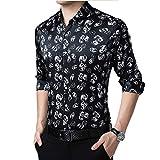 本当にシルクプリントドレスシャツメンズラペルスリムボタンダウンブロンズラグジュアリーTシャツ桑シルクヒップホップカジュアルボーイズストリートボーイフレンドギフト,黒,L