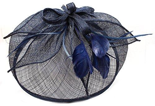 Chapea Bibi pour Les Occasions spéciales, en Toile de Jute avec nœud et Plumes, Bleu Marine