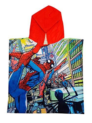 Spider-Man in The City Bade-Poncho aus 100% Baumwolle, für Kinder, One Size, Comic Style Verschiedene Motive (Rot)