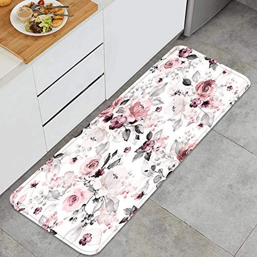 PUIO Juegos de alfombras de Cocina Multiusos,Patrones sin Fisuras Flores Hojas Dibujadas a Mano,Alfombrillas cómodas para Uso en el Piso de Cocina súper absorbentes y Antideslizantes