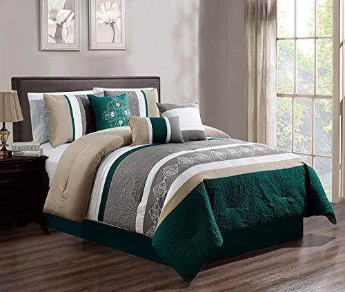 JBFF 7 Piece Luxury Embroidery Bed in Bag Microfiber Comforter Set (Teal, Cal King)