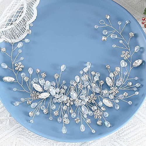 Handcess novia boda diademas cristal plata flor tocado diamantes de imitación nupcial...