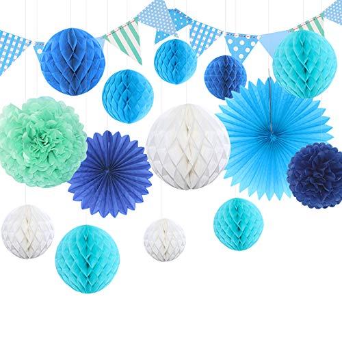 Himeland DIY Papier Pompom Wabenball Set   15er Mixed Wäbenbälle mit Seidenpapier Blume   Deko Fächer für Geburtstag/Hochzeitsfest/Babyshower/Feier/Party Baby-Dusche/Brautduschen