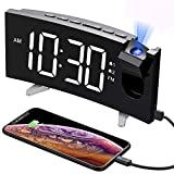 PICTEK Projection Digital Clock Radio for Bedrooms Ceiling with USB Phone Charger, 5'' Large Curved LED Display, 6...