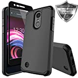 LG Zone 4 Case,LG Aristo 2/3, LG Phoenix 4, LG Tribute Empire/Dynasty SP200,LG Fortune 2,LG Risio 3,LG K8 (2018) Case, SWODERS Heavy Duty Shockproof with Tempered Glass Screen Protector Case - Black