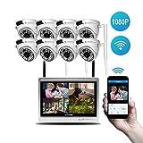 Lvreby Cámara IP inalámbrica, 2MP 1080P 12inch LCD cámara de Seguridad al Aire Libre Sistema WiFi Video vigilancia Kit Home CCTV Set NVR-Tarjeta de 2 TB TF,8CH