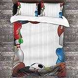 3 Piezas Juego Funda De Diseño Personalizado,Marco con equipo deportivo de Baketball Boxing Golf Bowling Badminton Activity,Ropa de Cama Set 1 Edredón 2 Fundas de Almohada Microfibra jueg(135*210cm)