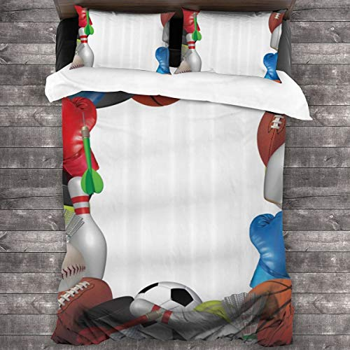Duvet Cover Set 3 PCS,Frame With Sport Equipment From Baketball Boxing Golf Bowling Badminton Activity,Bedding Duvet Cover with 2 Pillowcases(Super 220x260cm)