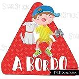 Niño y perro a bordo – Bebé a bordo triángulo para coche - Castellano