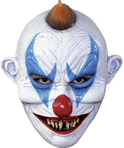 Fieser Clown Horror Maske aus Latex - Erwachsenen Horror Kostüm Vollmaske - ideal für Halloween, Karneval, Motto- & Grusel-Party