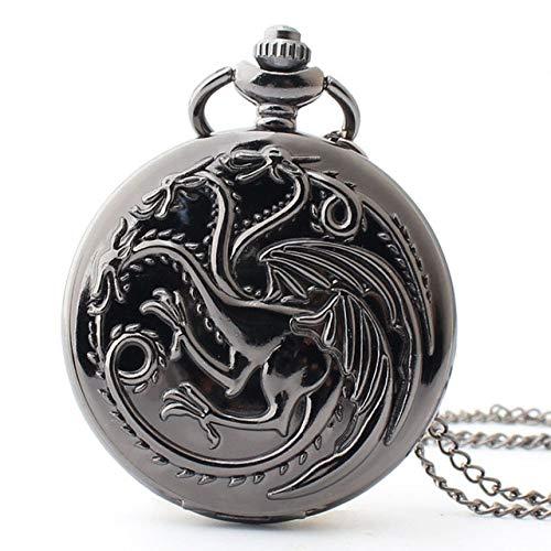 STEDMNY TaschenuhrHeißer Vintage Steampunk Quarz Taschenuhren Game of Thrones Drachen und Blut Herren Damen Halskette Kette Anhänger Uhr Geschenke, TD2080 schwarz
