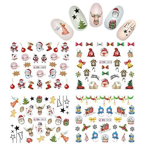 KADS Pegatina Uñas Festival Navidad Uñas Decal para DIY Uñas Artes Pegatina Uñas al Agua para Uñas Herramiento...