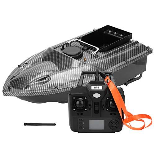 Barco de Cebo de Pesca Inteligente Inalámbrico RC Señuelo Navegación Navegador Buscador de Peces con Luz de Visión Nocturna LED y Motor Doble, 1.5KG Carga, Waterproof, Windproof & Waveproof(Black)